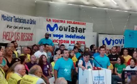 A cincuenta días de la huelga de Movistar, rueda de prensa con más de cien organizaciones